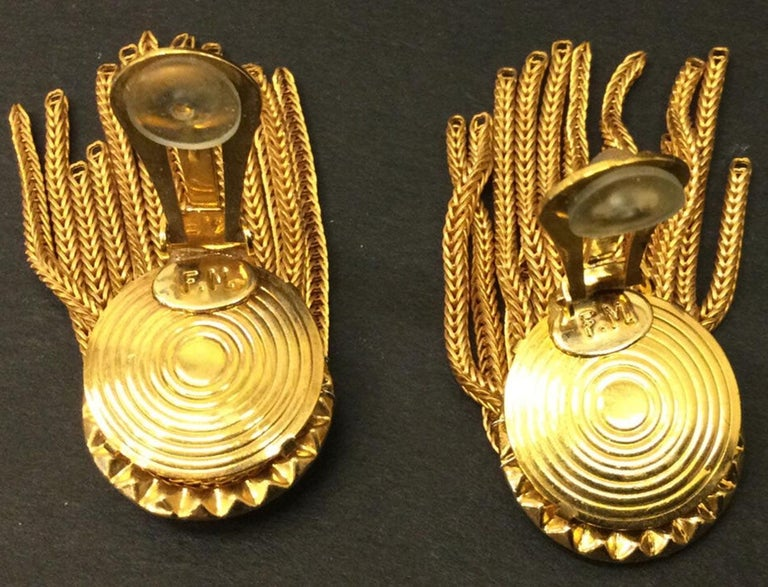 Modernist Designer Signed FRANCOISE MONTAGUE Golden Crystal Dangle Clip On Earrings For Sale