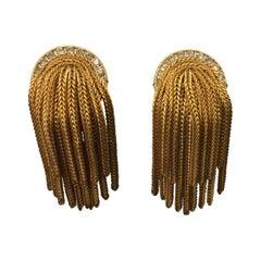 Designer Signed FRANCOISE MONTAGUE Golden Crystal Dangle Clip On Earrings