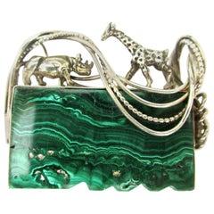 Designer Signed GFMW Malachite Giraffe Rhinoceros Sterling Silver Brooch Pin