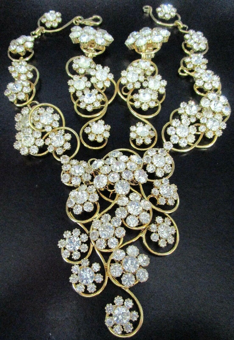 Round Cut Designer Signed Marie Ferra Crystal Golden Scroll Necklace and Earrings For Sale