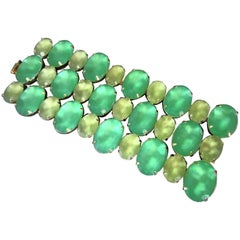 Designer Signed Marie Ferra Frosted Green and Yellow Cabochon Stones Bracelet