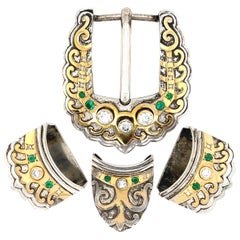 Designer Signed Mona Van Riper Diamond 4 Piece Gold and Silver Buckle Set