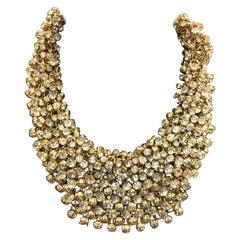 Designer Signed Natasha Sparkling Crystal Bib Collar Necklace