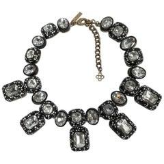 Designer Signed Oscar de la Renta Crystal Headliner Statement Choker Necklace