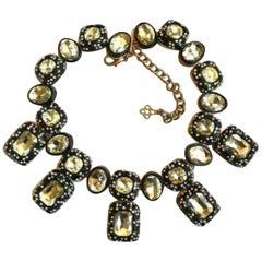 Designer Signed Oscar de la Renta Crystal Statement Choker Necklace