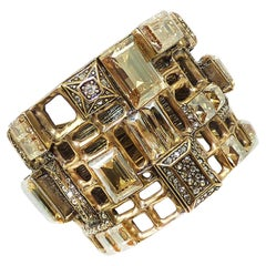 Designer Signed Oscar de La Renta Golden Crystal Clamper Bracelet
