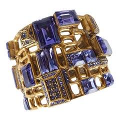 Designer Signed Oscar de La Renta Purple Faux Amethyst Clamper Bracelet
