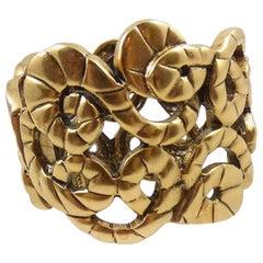 Designer Signed Oscar De La Renta Statement Golden Link Cuff Bracelet