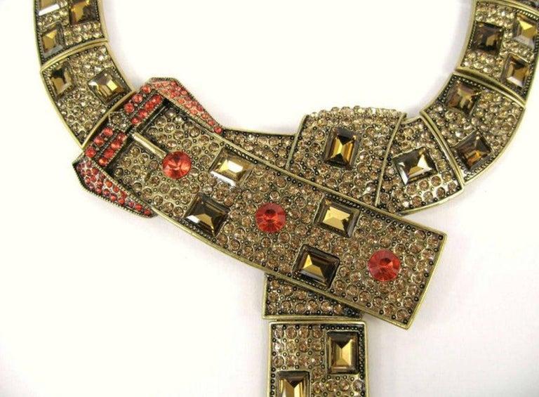 Modernist Designer Signed OSCAR de la RENTA Swarovski Crystal Buckle Necklace  For Sale