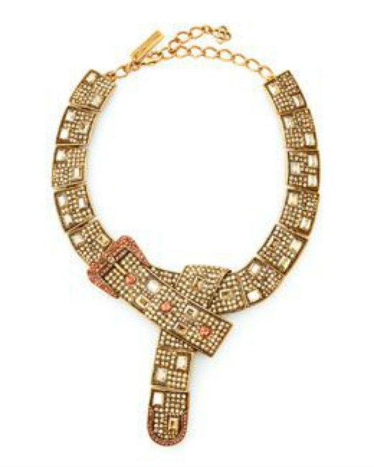 Women's Designer Signed OSCAR de la RENTA Swarovski Crystal Buckle Necklace  For Sale