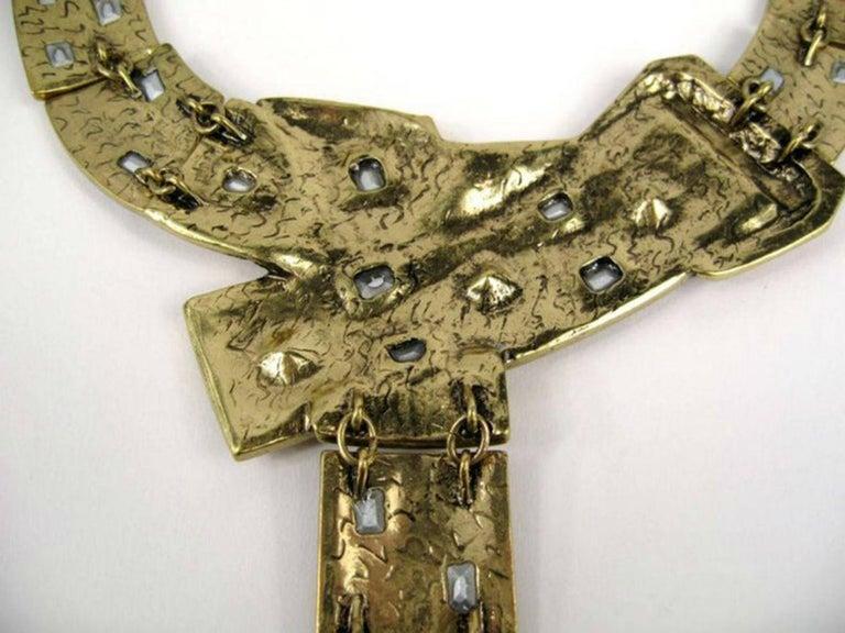 Designer Signed OSCAR de la RENTA Swarovski Crystal Buckle Necklace  For Sale 1