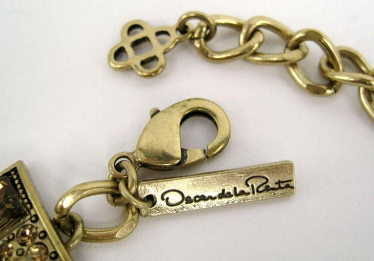 Designer Signed OSCAR de la RENTA Swarovski Crystal Buckle Necklace  For Sale 2