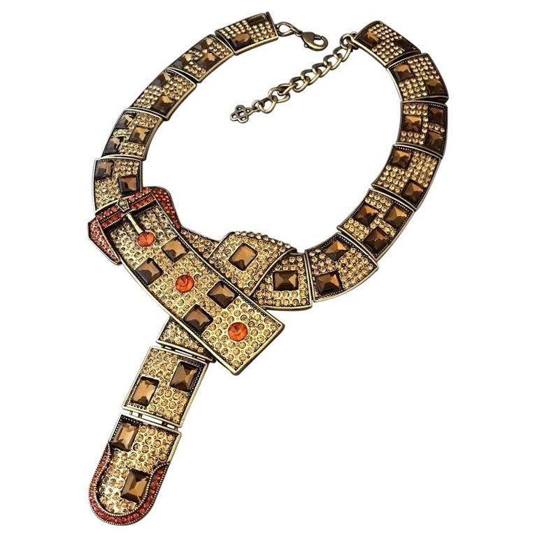 Designer Signed OSCAR de la RENTA Swarovski Crystal Buckle Necklace  For Sale