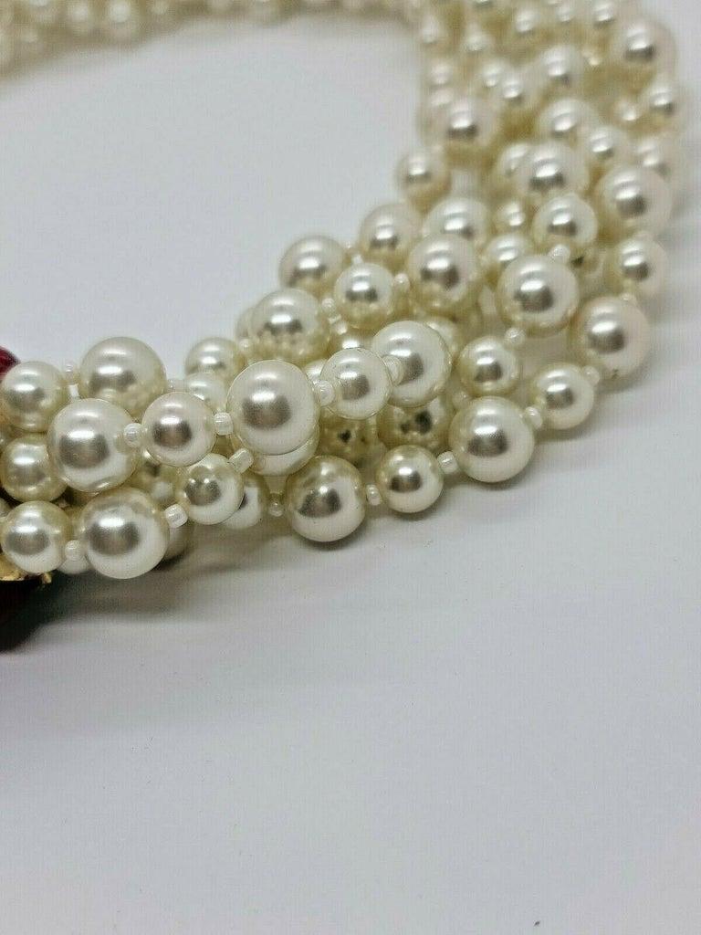Modernist Designer Signed Scaasi Multi Strand Faux Pearl and Gem Necklace  For Sale