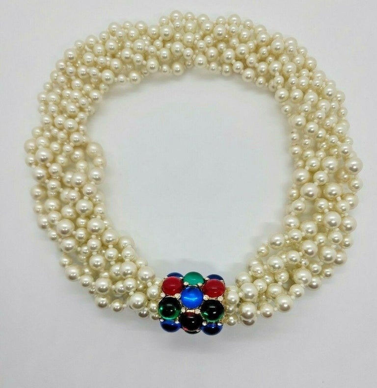 Women's Designer Signed Scaasi Multi Strand Faux Pearl and Gem Necklace  For Sale