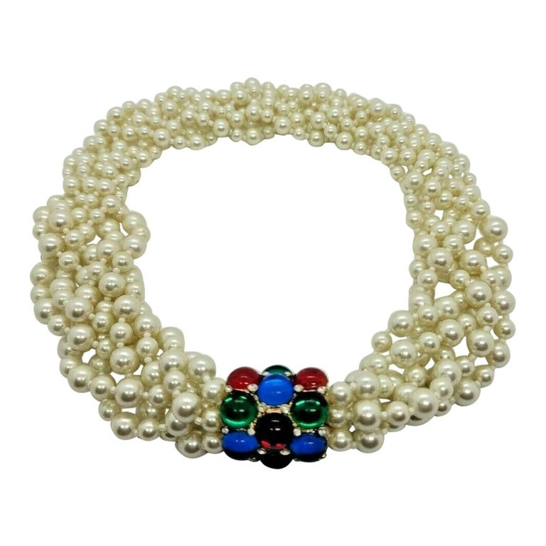 Designer Signed Scaasi Multi Strand Faux Pearl and Gem Necklace  For Sale