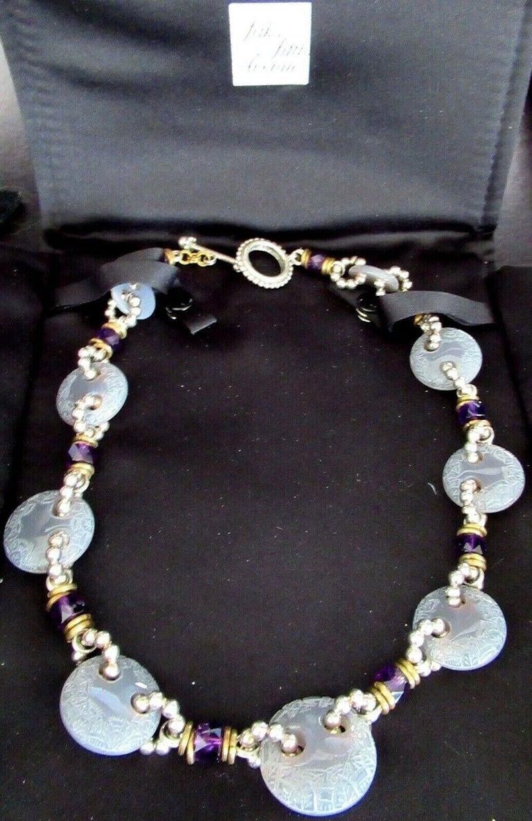 Round Cut Designer Signed Stephen Dweck Genuine Amethyst Sterling Silver Necklace For Sale