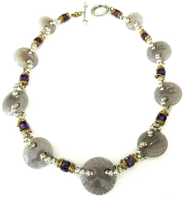 Women's Designer Signed Stephen Dweck Genuine Amethyst Sterling Silver Necklace For Sale