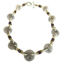 Designer Signed Stephen Dweck Genuine Amethyst Sterling Silver Necklace