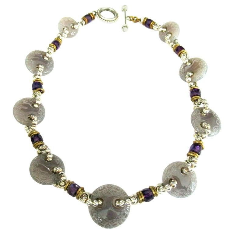 Designer Signed Stephen Dweck Genuine Amethyst Sterling Silver Necklace For Sale