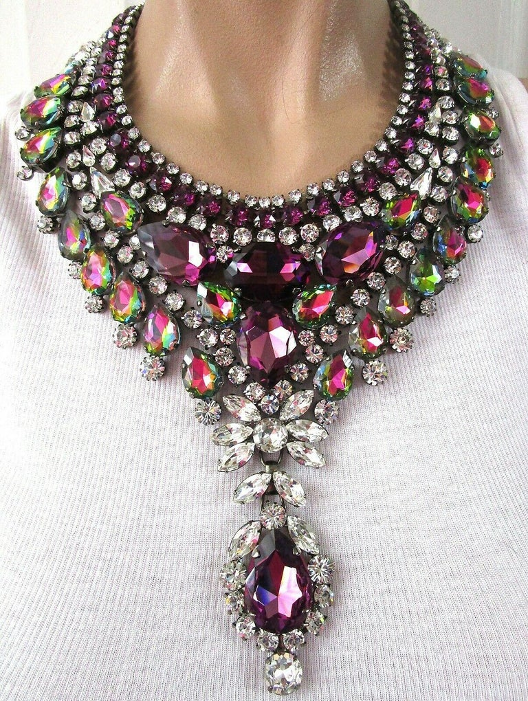 RARE THORIN & CO Opulent Designer Bib Necklace. Hand set with Sparkling Purple, Watermelon and Ice Crystals. Dark silver tone mounting. Necklace measures approx. 21
