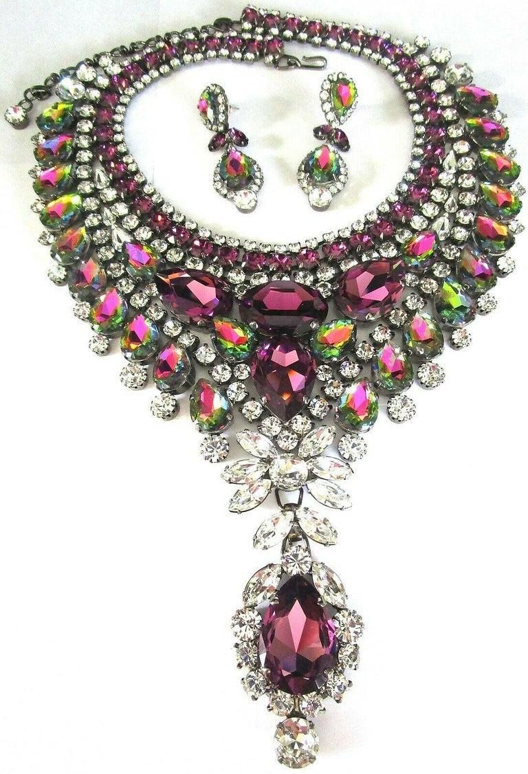Modernist Designer Signed Thorin & Co Multi Gem Sparkling Crystal Runway Necklace For Sale