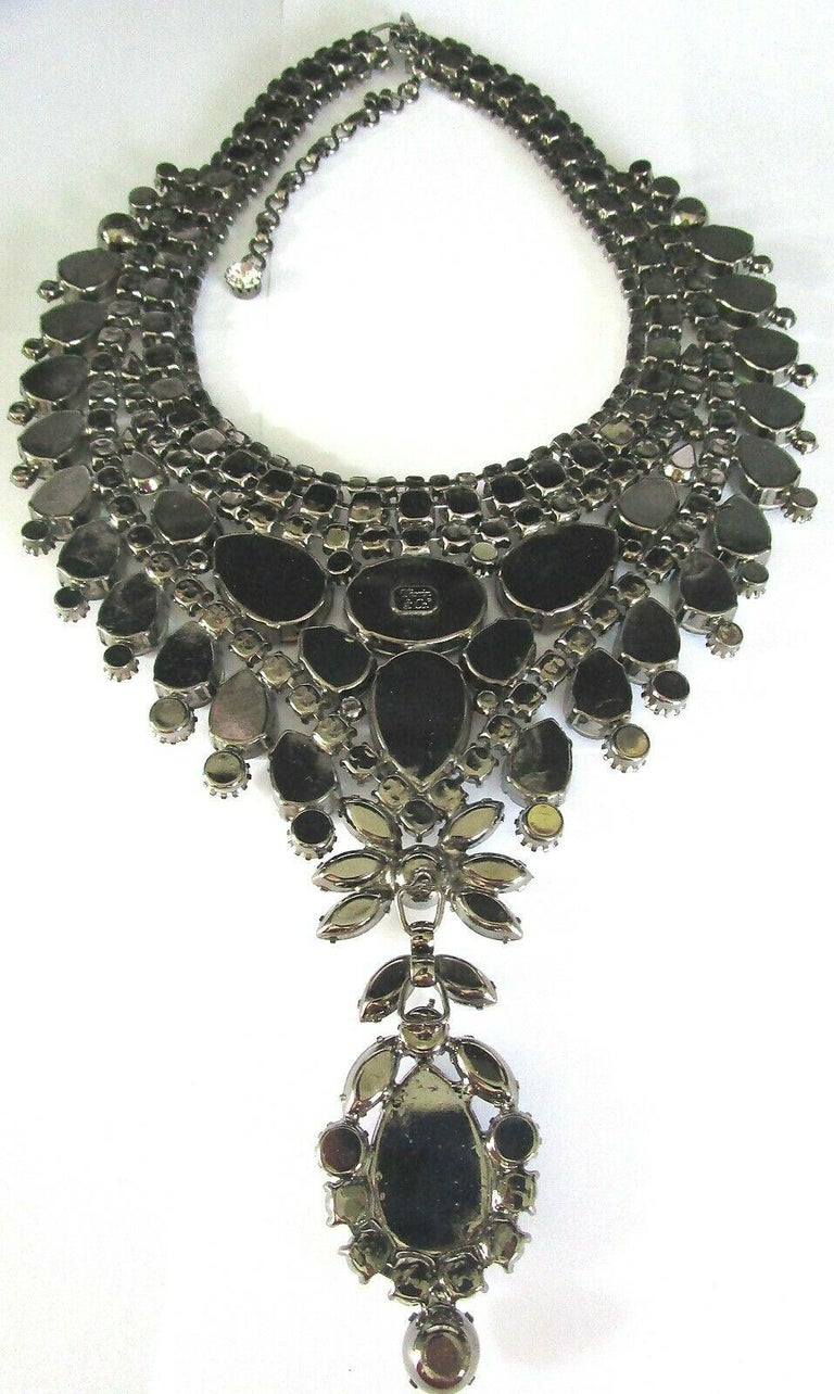 Mixed Cut Designer Signed Thorin & Co Multi Gem Sparkling Crystal Runway Necklace For Sale
