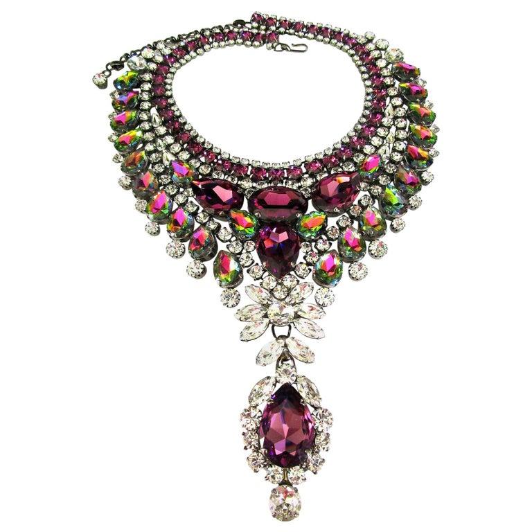 Designer Signed Thorin & Co Multi Gem Sparkling Crystal Runway Necklace For Sale