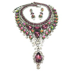 Designer Signed Thorin & Co Multi Gem Ice Crystal Necklace and Drop Earrings