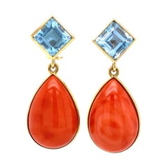 Weber Coral and Aquamarine Gold Earrings Estate Fine Jewelry