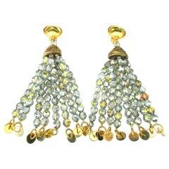 Designer Signed Yves Saint Laurent Rive Gauche Crystal Chandelier Earrings YSL