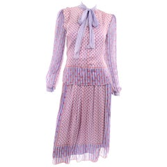 Designer Silk Chiffon 2 Pc Dress in Purple Yellow Pink Floral Print Pattern Mix
