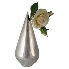 Designer Silver Art Deco Flower Vase, Italy, 1930s