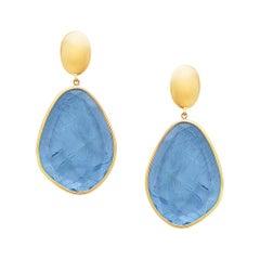 Designer Slice Aquamarine Drop Dangle Earring in 18k Yellow Gold
