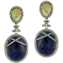 Designer Slice Sapphire Earring with Diamonds