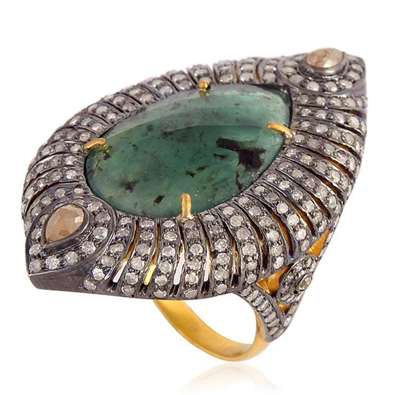 Modern Designer Sliced Pear Shape Emerald Ring with Diamond For Sale