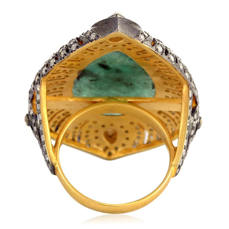 Pear Cut Designer Sliced Pear Shape Emerald Ring with Diamond For Sale