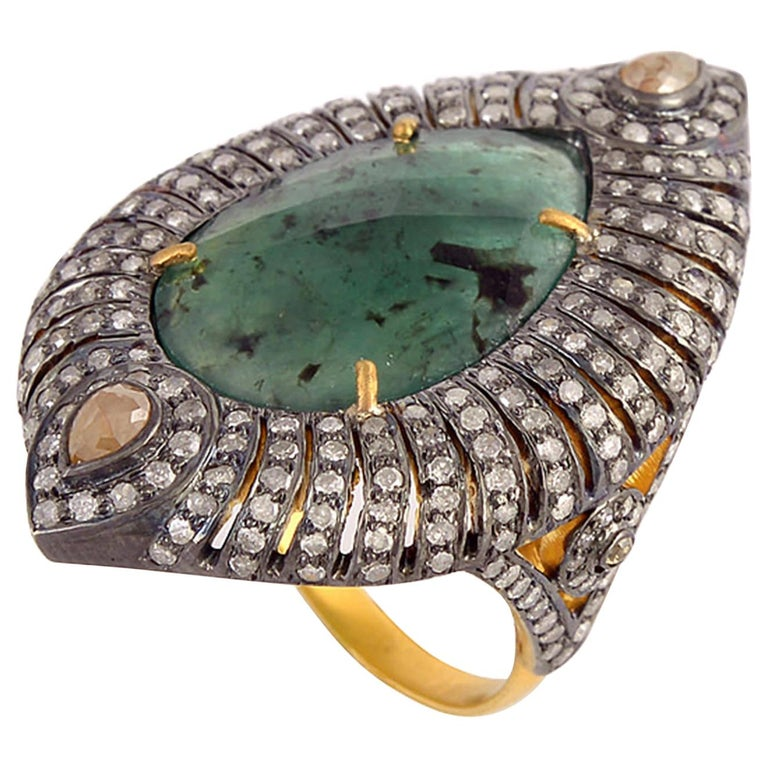 Designer Sliced Pear Shape Emerald Ring with Diamond For Sale