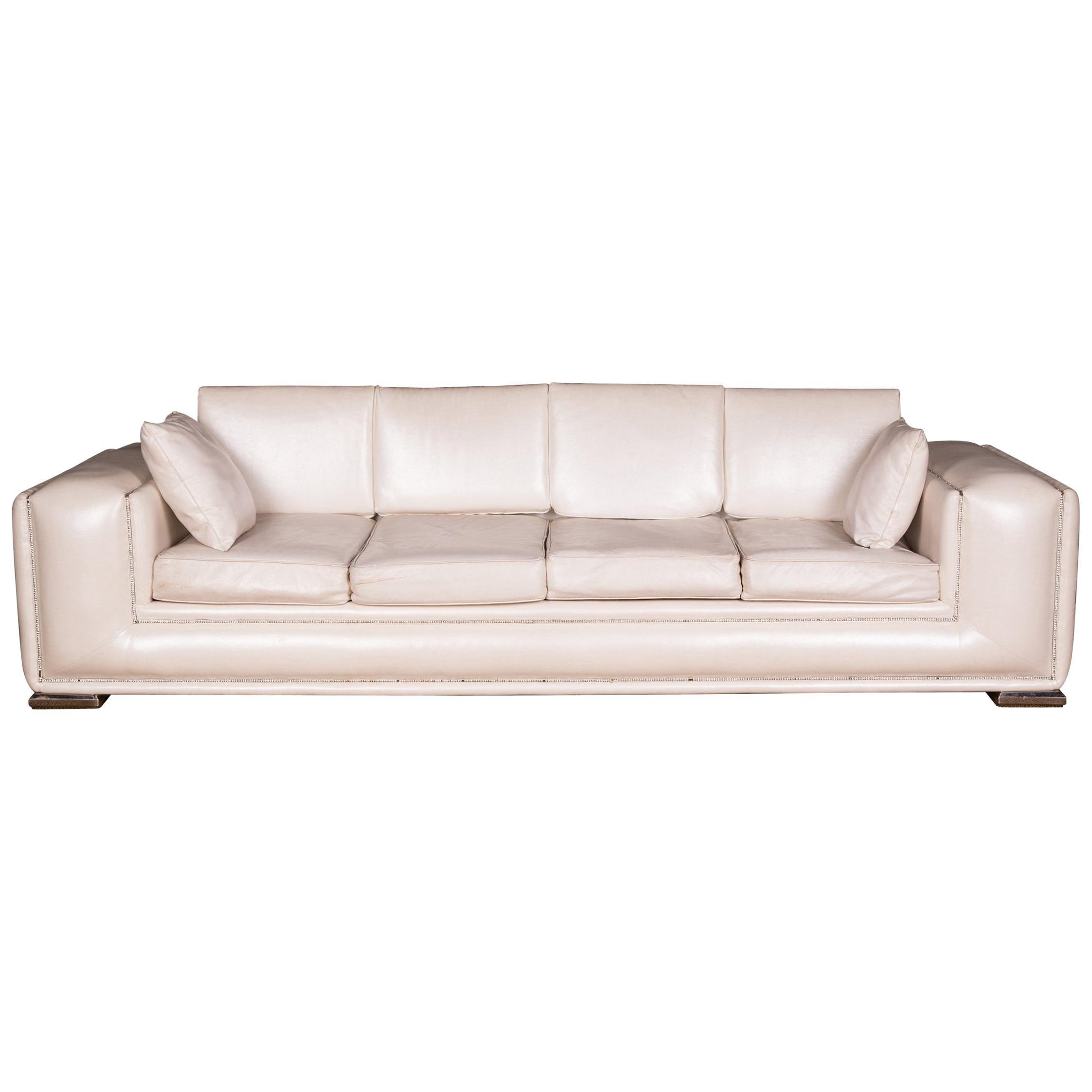 Designer Sofa Four-Seat with Swarovski Stones Rhinestones