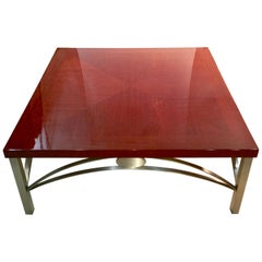 Designer Square Cocktail Table Padauk and Stainless Steel