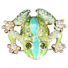 Designer St John Crystal and Enamel Frog Pin Brooch in Original Pouch