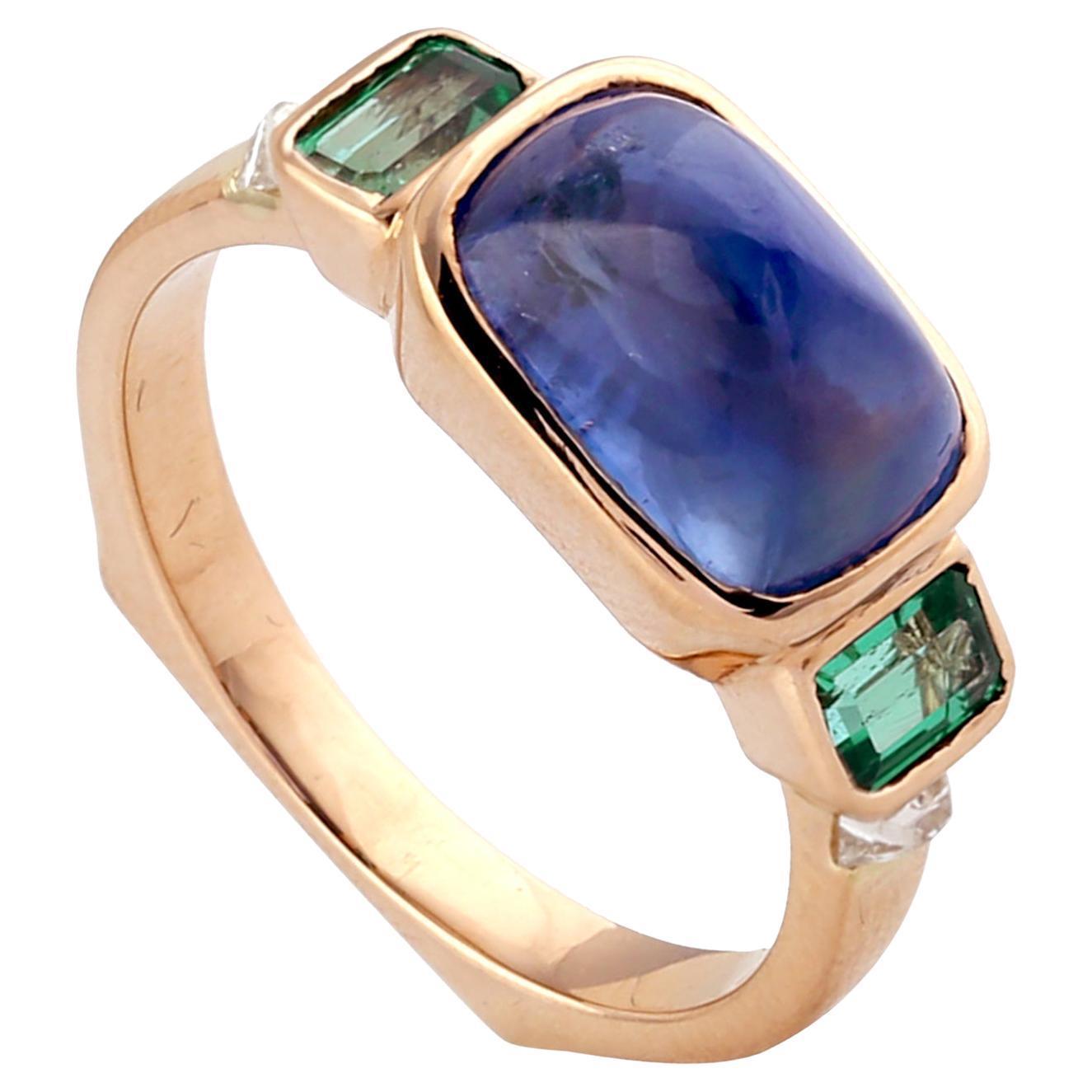 Designer Sugarloaf Cut Sapphire and Baguette Emerald Ring Set in 18k Gold