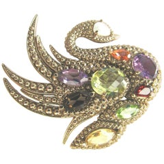 Designer Swarovski Crystal Encrusted Swan Brooch Pin by Nicky Butler