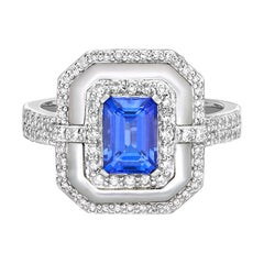 Designer Tanzanite, Mother of Pearl, and Diamond Ring in 18 Karat White Gold