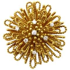 Designer Tiffany & Co. ½ Carat Spray Style Diamond 18 Karat Gold Brooch or Pin