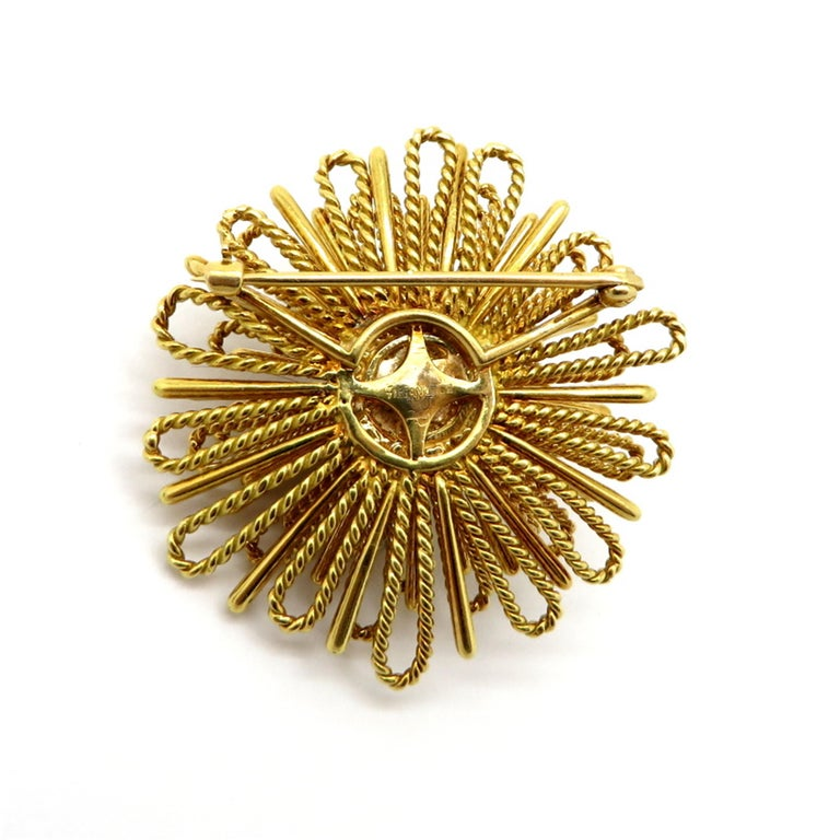 Designer Tiffany & Co. ½ Carat Spray Style Diamond 18 Karat Gold Brooch or Pin In Excellent Condition For Sale In Scottsdale, AZ