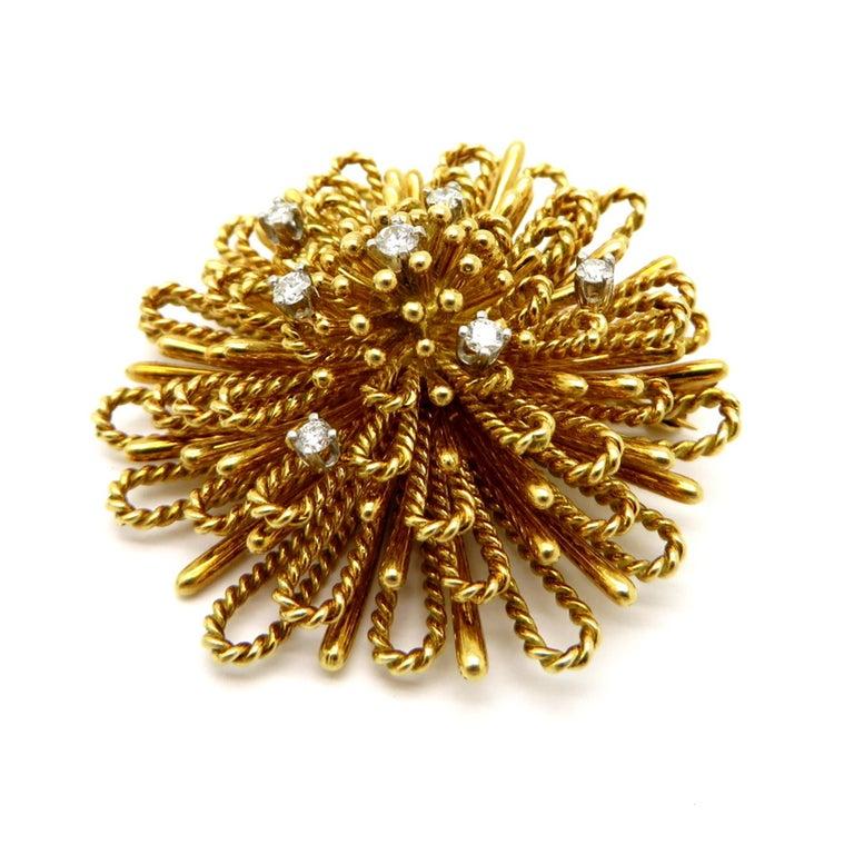 Women's or Men's Designer Tiffany & Co. ½ Carat Spray Style Diamond 18 Karat Gold Brooch or Pin For Sale