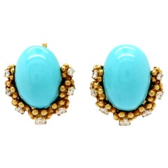 Designer Tiffany & Co. 18 Karat Gold Turquoise Diamond Clip on Flower Earrings