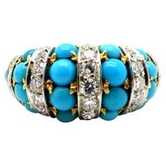 Designer Tiffany & Co. Persian Turquoise 18 Karat Yellow Gold Diamond Ring