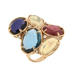 Designer Tourmaline 18k London Blue Topaz Opal Diamonds Statement Ring for Her